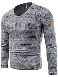 cheap -Men's Daily Casual Street chic Mesh Solid Striped V Neck Plus Size Sweater Pullover, Long Sleeves Cotton