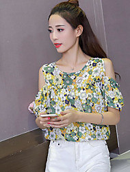 cheap -Women's Daily Casual Blouse,Print Round Neck Short Sleeves Cotton