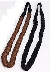 Synthetic Hair Headband Twist Hair Accessories Brown Black Two Colors