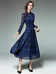 abordables -Mujer Línea A Vestido Retazos Escote Chino