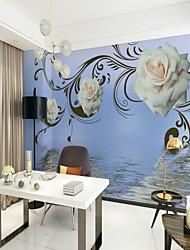 abordables -Patrón 3D Flor Fondo de pantalla Para el hogar Rústico Revestimiento de pared , Lienzo Material adhesiva requerida Mural , Revestimiento