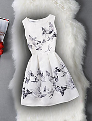 cheap -Girl's Birthday Daily Holiday Going out Solid Floral Print Dress,Cotton Polyester Spring Summer Sleeveless A-Line Slip Pattern Solid