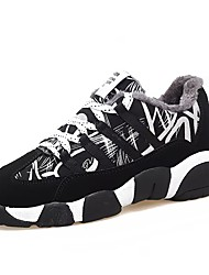 Femme Chaussures Polyuréthane Hiver Confort Basket Bout rond Lacet Pour Décontracté Arc-en-ciel Noir/blanc