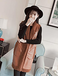 cheap -Women's Daily Going out Street chic Winter Fall Vest,Solid Peaked Lapel Long Cashmere