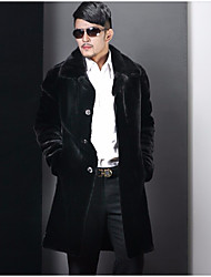 Men's Party Casual/Daily Vintage Winter Fur Coat,Solid Peter Pan Collar Long Sleeve Long Others Fur Trim