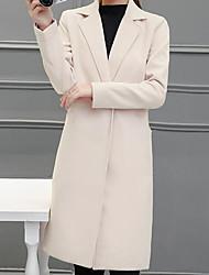 Недорогие -Для женщин На каждый день Зима Осень Пальто Рубашечный воротник,Простой Однотонный Длинная Длинные рукава,Шерсть