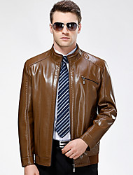 Men's Casual/Daily Vintage Fall Winter Leather Jackets,Solid Stand Long Sleeve Regular Lambskin