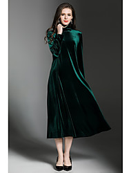 cheap -SHE IN SUN Women's Party Daily Casual Street chic Loose Shift Dress,Solid Turtleneck Maxi Long Sleeves Polyester Velvet Winter Fall Mid Rise