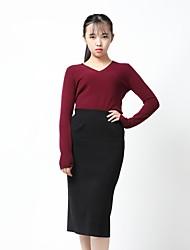 Standard Cashmere Da donna-Casual Ufficio Tinta unita A V Manica lunga Cashmere Autunno Inverno Medio spessore Elasticizzato