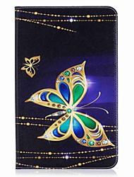 porte-cartes à motif papillon porte-monnaie avec étui en cuir magnétique pu boîtier en cuir pour samsung galaxy tab e 9.6 t560 t561