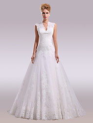 cheap -A-Line Plunging Neckline Cathedral Train Lace Satin Wedding Dress with Beading Appliques Buttons Lace by Nameilisha