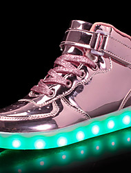 cheap -Girls' Shoes Customized Materials Patent Leather Fall Light Up Shoes Comfort Sneakers Walking Shoes LED Hook & Loop Lace-up for Athletic