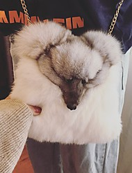 Women Bags Winter Fur Shoulder Bag Buttons for White Black Gray