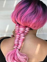 preiswerte -Synthetische Haare Perücken Natürlicher Haaransatz Spitzenfront Natürliche Perücke Lang Rosa