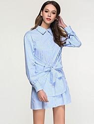 cheap -Women's Going out Sheath Dress,Striped Shirt Collar Above Knee Long Sleeves Cotton High Waist Inelastic Medium