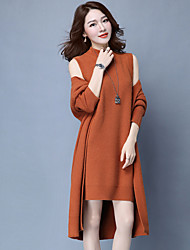 cheap -Women's Daily Casual Autumn/Fall Set Dress Suits,Solid High Neck Long Sleeves Cotton