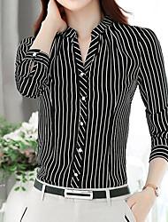 baratos -Mulheres Camisa Social Listrado Poliéster Colarinho Chinês