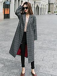 economico -Impermeabile Da donna Per uscire Casual Moda città Autunno Inverno,A quadri Colletto alla Peter Pan Poliestere Lungo Manica lunga