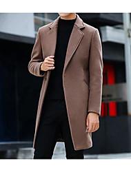 cheap -Men's Street chic Long Coat - Solid Colored Shirt Collar / Long Sleeve