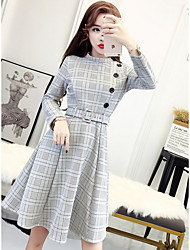 cheap -Women's Daily Going out Sheath Tunic Dress,Solid Houndstooth Stand Knee-length Long Sleeve Cotton Polyester Winter Fall High Waist