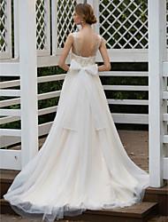 baratos -Linha A Princesa Ilusão Decote Cauda Escova Chiffon Tule Renda Floral Vestidos de noiva personalizados com Apliques Laço(s) Fitas e Laços