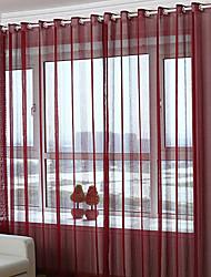 Недорогие -Люверс занавески Морщиться В обтяжку Окно Лечение Modern Однотонный Гостиная Полиэфирная смесь материал Занавески Оттенки Украшение дома