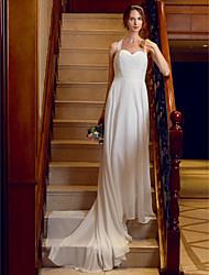 abordables -Corte en A Princesa Corte Raso Encaje Vestido de novia con Apliques Botones por LAN TING BRIDE®