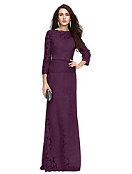 cheap -Sheath / Column Bateau Neck Floor Length All Over Lace Mother of the Bride Dress with Bow(s) / Sash / Ribbon by LAN TING BRIDE®