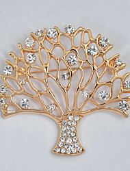cheap -Women's Brooches Rhinestone Sweet Elegant Rhinestone Alloy Tree of Life Jewelry For Daily Formal