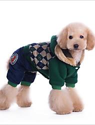 Кошка Собака Плащи Толстовки Комбинезоны Холодная одежда Одежда для собак Хлопок Весна/осень Зима На каждый день Сохраняет тепло