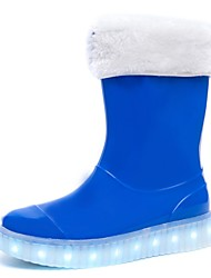 cheap -Boys' Shoes Synthetic Microfiber PU All Season Light Up Shoes Rain Boots Boots Mid-Calf Boots For Casual Outdoor Pink Blue Black