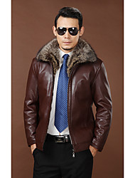 cheap -Men's Daily Simple Casual Winter Fall Leather Jackets,Solid Shirt Collar Long Sleeves Regular Raccoon Fur Lambskin