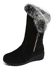 cheap -Women's Shoes Cashmere Winter Snow Boots Boots Round Toe Mid-Calf Boots For Casual Burgundy Black