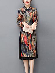 Trapèze Gaine Robe Femme Soirée Travail Rétro Bohème Chinoiserie,Géométrique Col Mandarin Midi Mi-long Manches longues Autres Automne