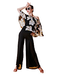 cheap -Latin Dance Tops Women's Performance Chiffon Satin Ice Silk Pattern / Print 3/4 Length Sleeve Tops