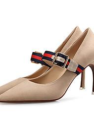 Damen Schuhe Stoff Frühling Herbst Pumps High Heels Spitze Zehe Schnalle Für Kleid Party & Festivität Schwarz Rot Hautfarben
