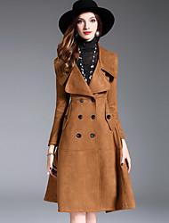baratos -Mulheres Casaco Longo Sofisticado Moda de Rua - Sólido