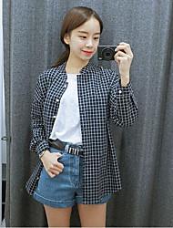 cheap -Women's Daily Active Spring Fall/Autumn Shirt,Check Stand Long Sleeve Cotton Medium