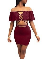 cheap -Women's Party Bar Casual Winter Fall Set Skirt Suits,Solid Strapless Short Sleeves Polyester