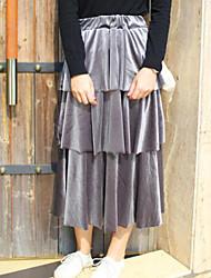 Feminino Cerimônia Midi Saias,Saia & Vestido Sólido Outono Inverno