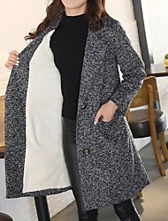 cheap -Women's Daily Work Plus Size Simple Vintage Casual Street chic Winter Coat,Solid Long Sleeves Long Others