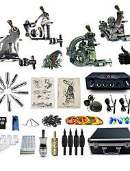 cheap -Tattoo Machine Professional Tattoo Kit 2 steel machine liner & shader 2 alloy machine liner & shader High Quality 2 x aluminum grip 4 x