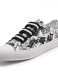Herrer Sko Kanvas Forår Efterår Lysende såler Sneakers Dyremønster Til Afslappet Sort/Hvid
