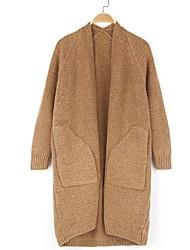Lungo Cardigan Da donna-Casual Tinta unita A V Manica lunga Lana d'angora Tessuto in lana Inverno Primavera/Autunno Medio spessore