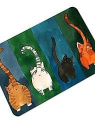 baratos -tapete de piso antiderrapante criativo de desenho de gato de desenho animado