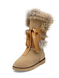 cheap -Women's Shoes Flocking Winter Fall Snow Boots Fur Lining Boots Low Heel Round Toe Mid-Calf Boots for Casual Dress Black Gray Almond