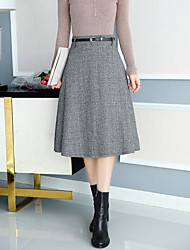 cheap -Women's Daily Midi Skirts A Line Solid Fall Winter