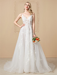 A-Linie Princess Do V Extra dlouhá vlečka Krajka Tyl Svatební šaty s Aplikace Krajka podle LAN TING BRIDE®