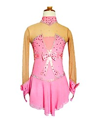 cheap -Figure Skating Dress Women's Girls' Ice Skating Dress Pink Spandex Rhinestone Bow Stretchy Skating Wear Handmade Sequin Long Sleeves