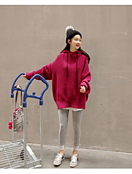 Women's Holiday Going out Regular Pullover,Solid Hooded Long Sleeves Acrylic Autumn Winter Medium strenchy